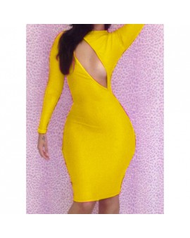 VESTIDO AJUSTADO CUT OUT AMARILLO