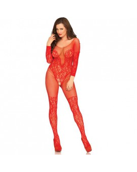 LEG AVENUE VINE LACE AND NET BODYSTOCKING ROJO
