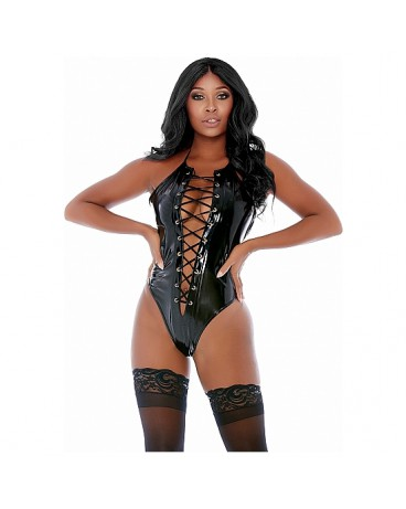 LACED BE HONEST VINYL LACE UP TEDDY