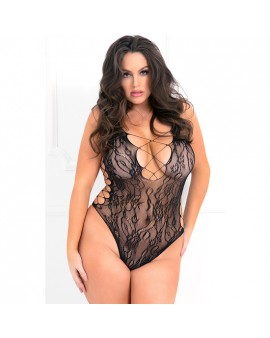 LACED UP SEXY BODYSUIT BLACK PLUS SIZE