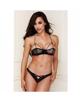 BRALETTE SET WITH CRISS CROSS PANTY- CONJUNTO ENCAJE