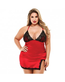 2PC LACE & SATIN CHEMISE WITH PANTY - PICARDIAS ROJO