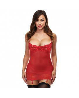 OPEN CUP CHEMISE WITH GARTERS - ROJO