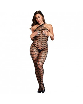 CRISS CROSS CROTCHLESS BODYSTOCKING- DISEÑO ONDULADO