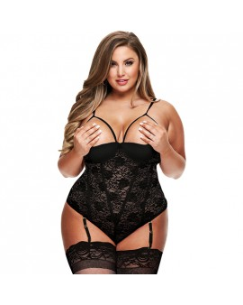 LACE TEDDY WITH GARTERS- BODY LIGUERO