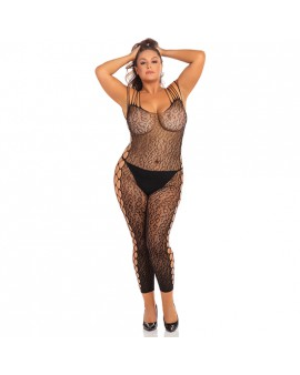 ANIMAL CROTCHLESS BODYSTOCKING DE MALLA - NEGRO