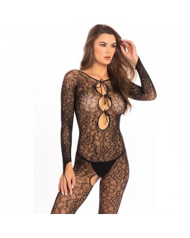 CROTCHLESS LACE BODY DE MALLA - NEGRO