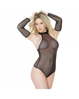 FETISH FISHNET TEDDY CON GUANTES - NEGRO