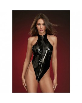 BODY DE LATEX CON CUELLO ALTO NEGRO