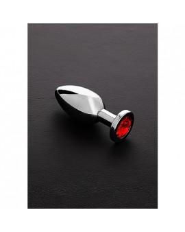 JEWELED BUTT PLUG ACERO INOX MEDIANO ROJO